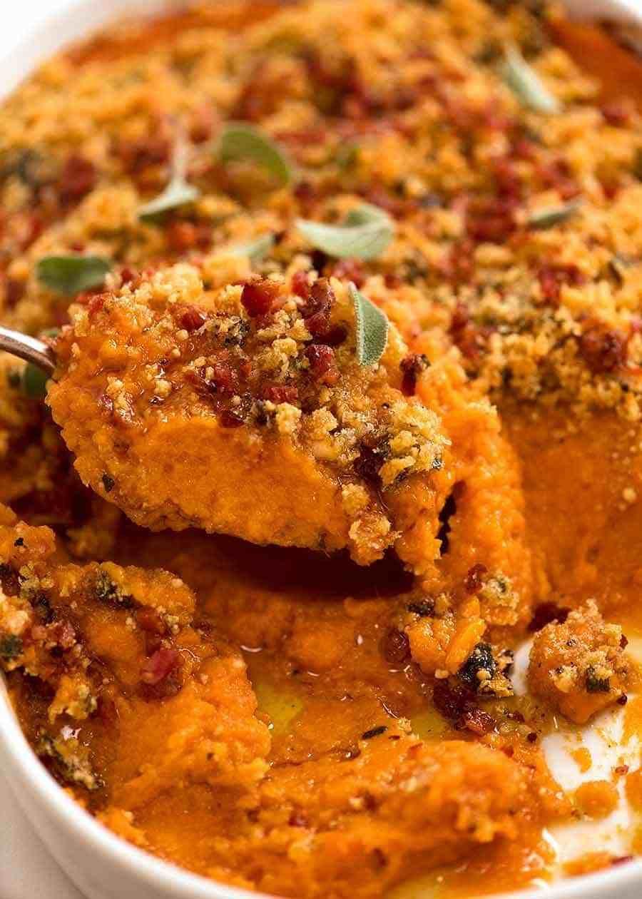 Browned Butter Savoury Sweet Potato Casserole #sweetpotatocasserole