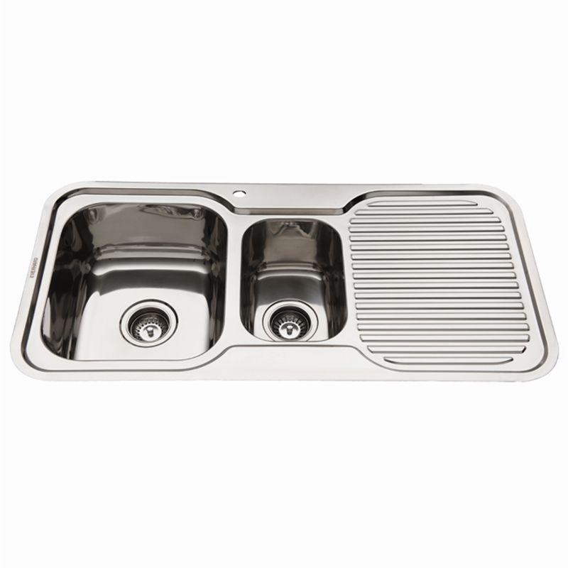 NuGleam 980 Kitchen Sink with 1 & 1/2 RH Bowl with Drainer ...
