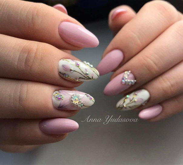 Best elegant simple pink and white with jewels gorgeous nail art ...