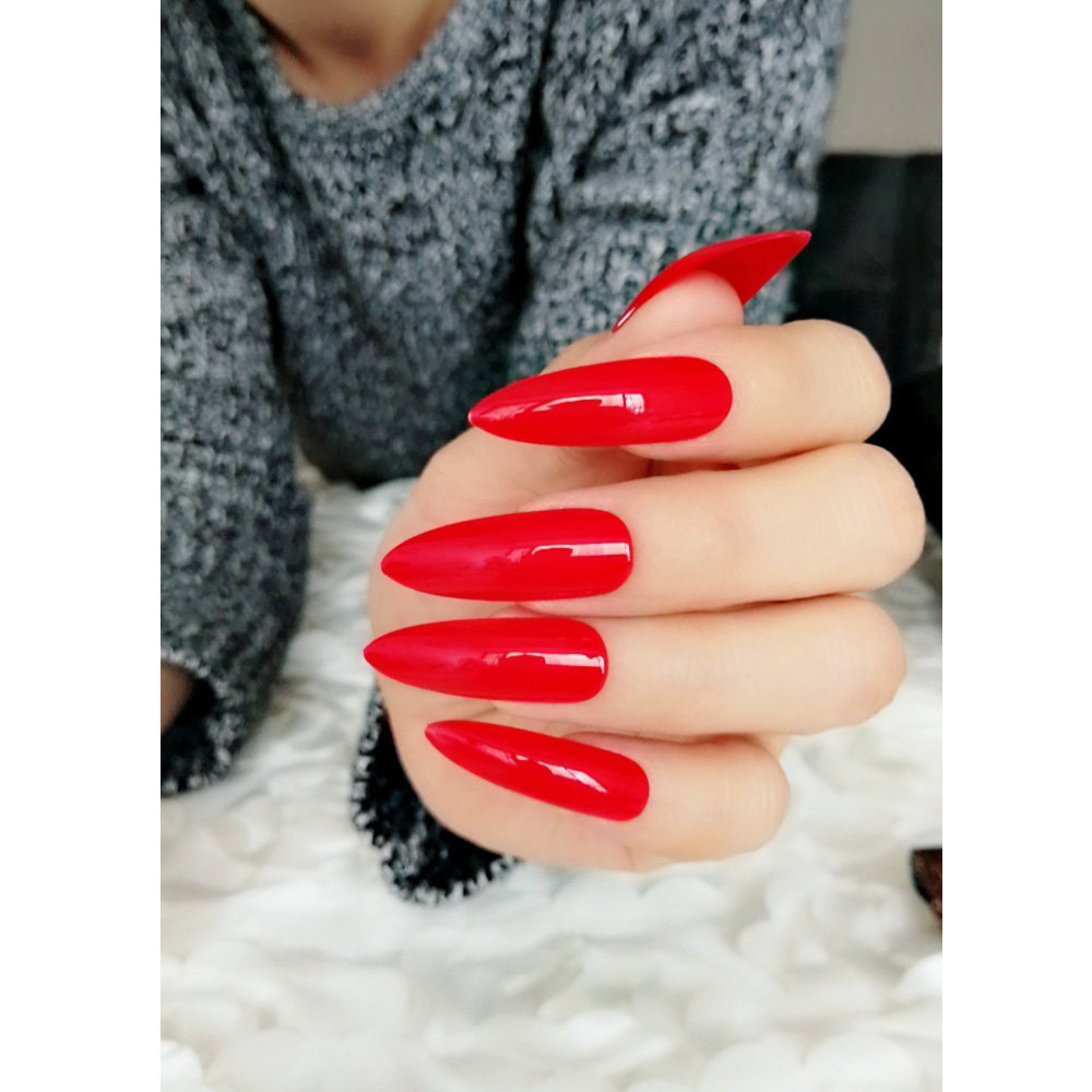 Sexy Ballet Blood ,Extra Long Fake Nails ,Pure Red,Coffin Nails -Matte Nails -Press On Nails -Nude Nails – Gel Nails – Artificial Nails