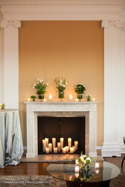Fireplace Candles candles and flower wedding decorations | home | pinterest