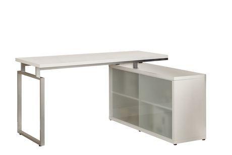 White Hollow Core L Shaped Desk With Frosted Glass Walmart Ca L Shaped Desk White Desks Home