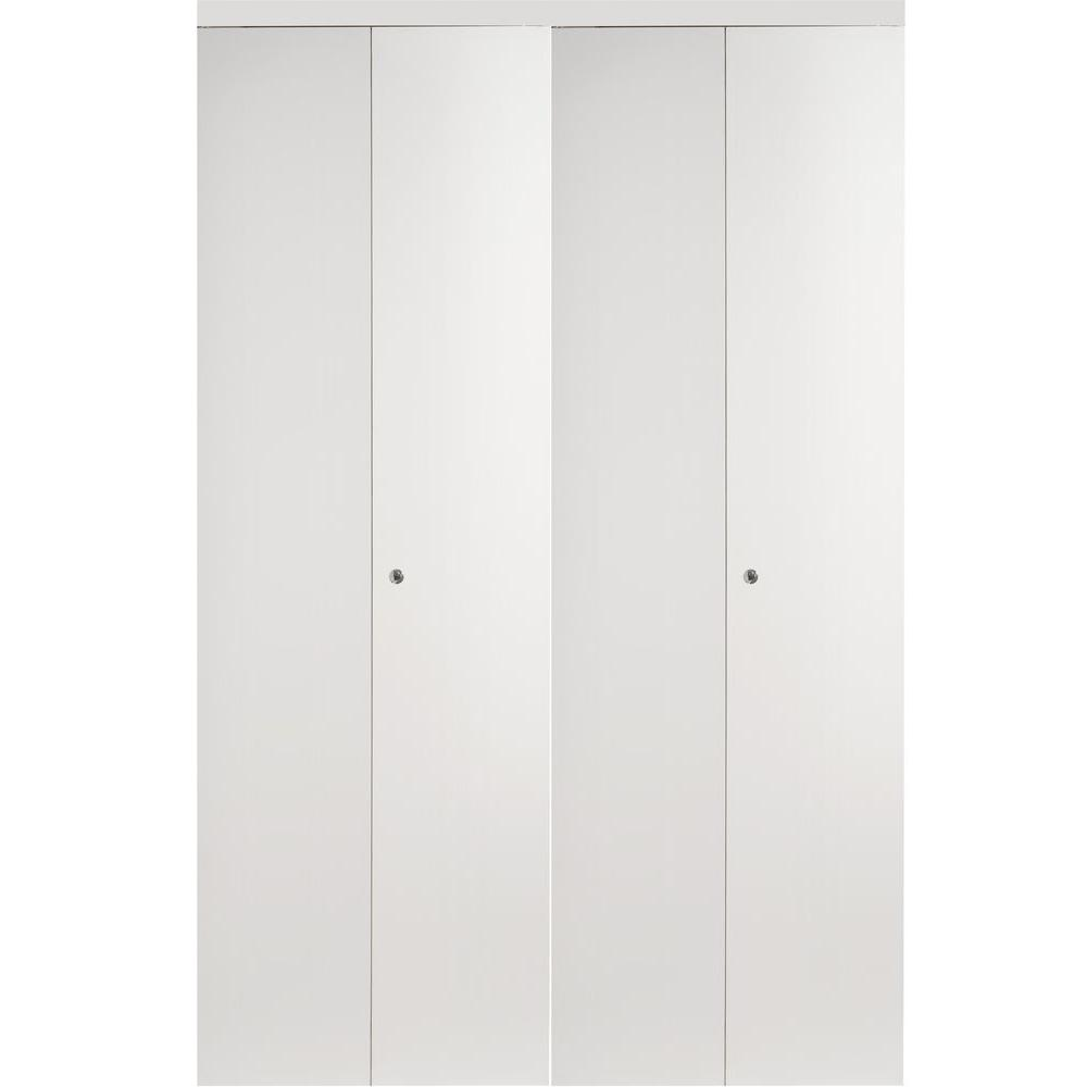 Impact Plus 72 In X 96 In Smooth Flush White Interior Closet Solid Core Mdf Bi Fold Door With Chrome Trim Bfw344 7296c Bifold Closet Doors Bifold Doors White Interior