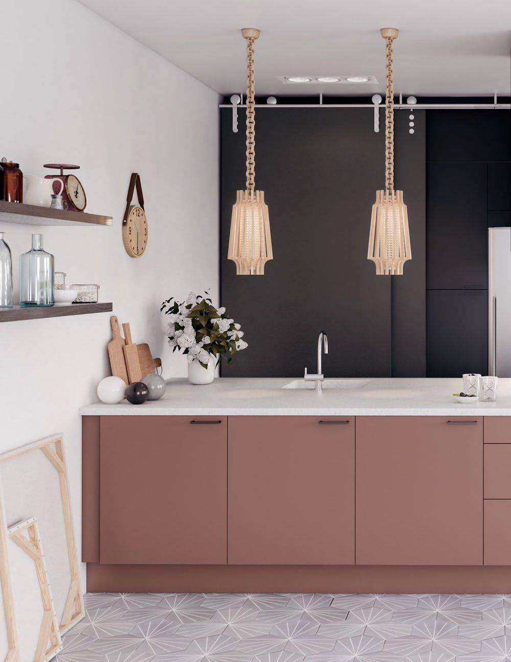 Black And Dusky Pink Kitchen Colour In The Kitchen First Sense