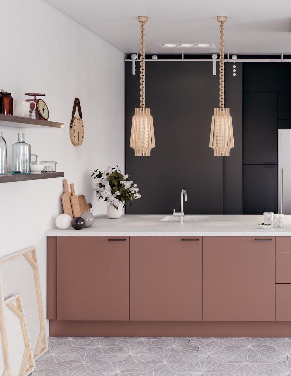 Black And Dusky Pink Kitchen Colour In The Kitchen First Sense Black Kitchen Decor Pink Cabinets Farmhouse Style Kitchen