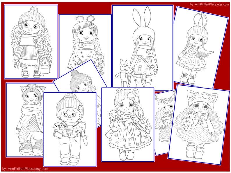 Winter Christmas Printable Doll Coloring Book, PDF