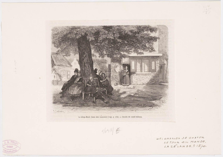 De klap-bank Le 'klap-bank' (banc des causeurs) 1874 kunstenaar: Dillens, Adolphe Laplante, C. Uit: Charles de Coster, la tour du monde, La Zélande, Londres #Zeeland