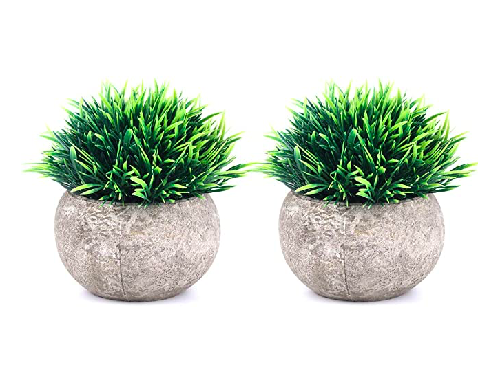 The Bloom Times 2 Pcs Fake Plants For Bathroom Home Office Decor Small Artificial Faux Greenery For House Deco In 2020 Faux Plants Faux Plants Decor Fake Plants Decor