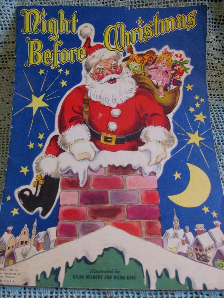 1947 vintage night before christmaslarge santa claus book