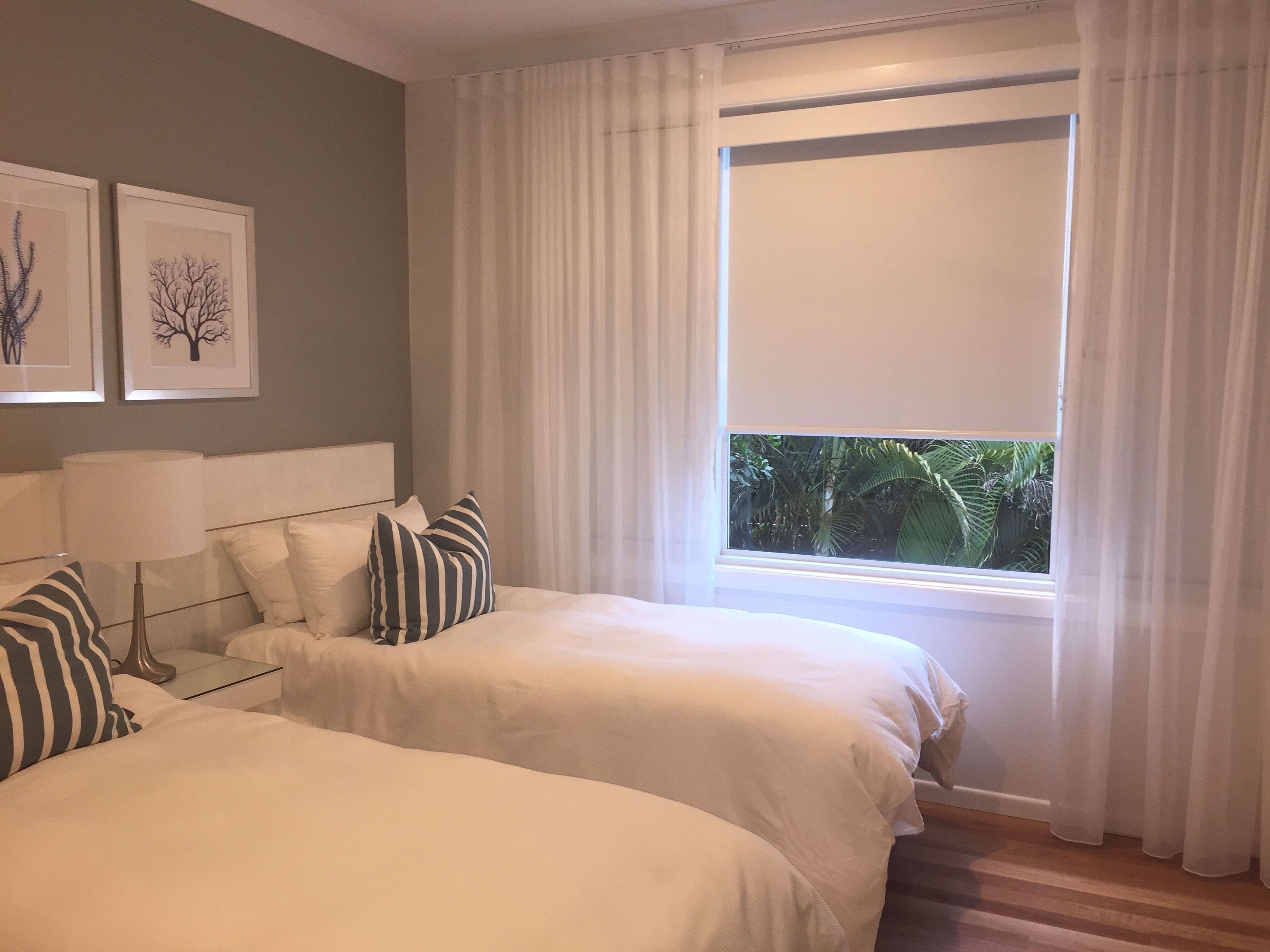 White Blockout Roller Blinds And Matching Pelmet With White Sheer S Wave Curtains To Soften Th In 2020 S Wave Curtains Curtains With Blinds Sheers Curtains Living Room