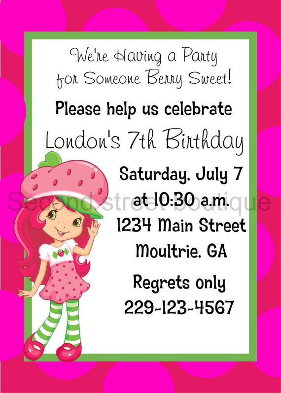 Strawberry Shortcake Birthday Invitation by PreppyPaperBoutique ...