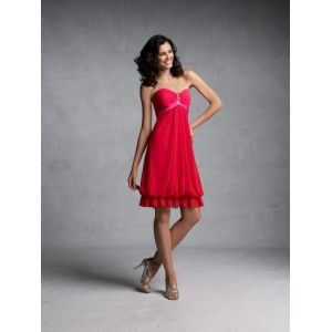 Strapless red chiffon knee-length dress with sweetheart neckline, satin empire waistband, center front gathered soft skirt with ruffle hemline and back zipper. Free made-to-measurement service for any size. Available colors seen as in Color Options.