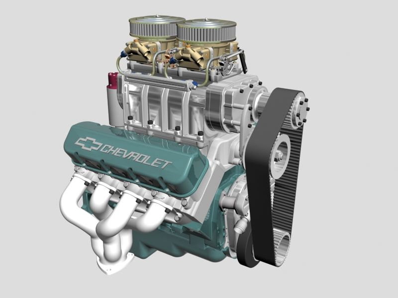 Chevrolet Big Block V8 Engine With Blower 3d Model Another