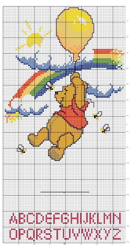 Schema punto croce alfabeto winnie the pooh cross stich for Alfabeto disney a punto croce