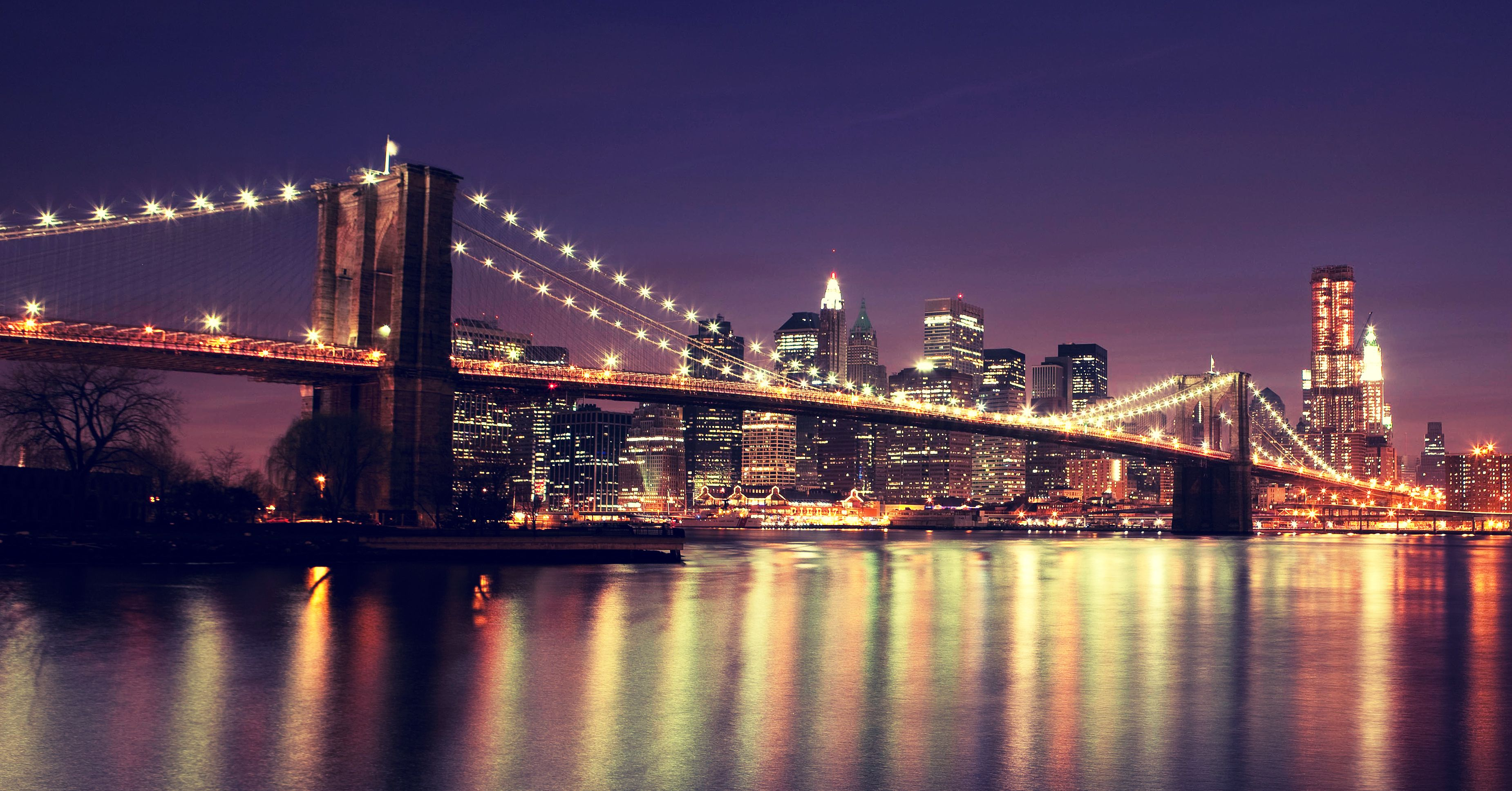 Amazing Night Time View Of The Brooklyn Bridge Brooklyn Bridge New York New York Bridge New York Pictures