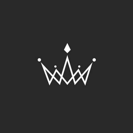 Logo Couronne monogramme, maquette symbole royal noir et blanc avec des bijoux dans la mince ligne d'intersection