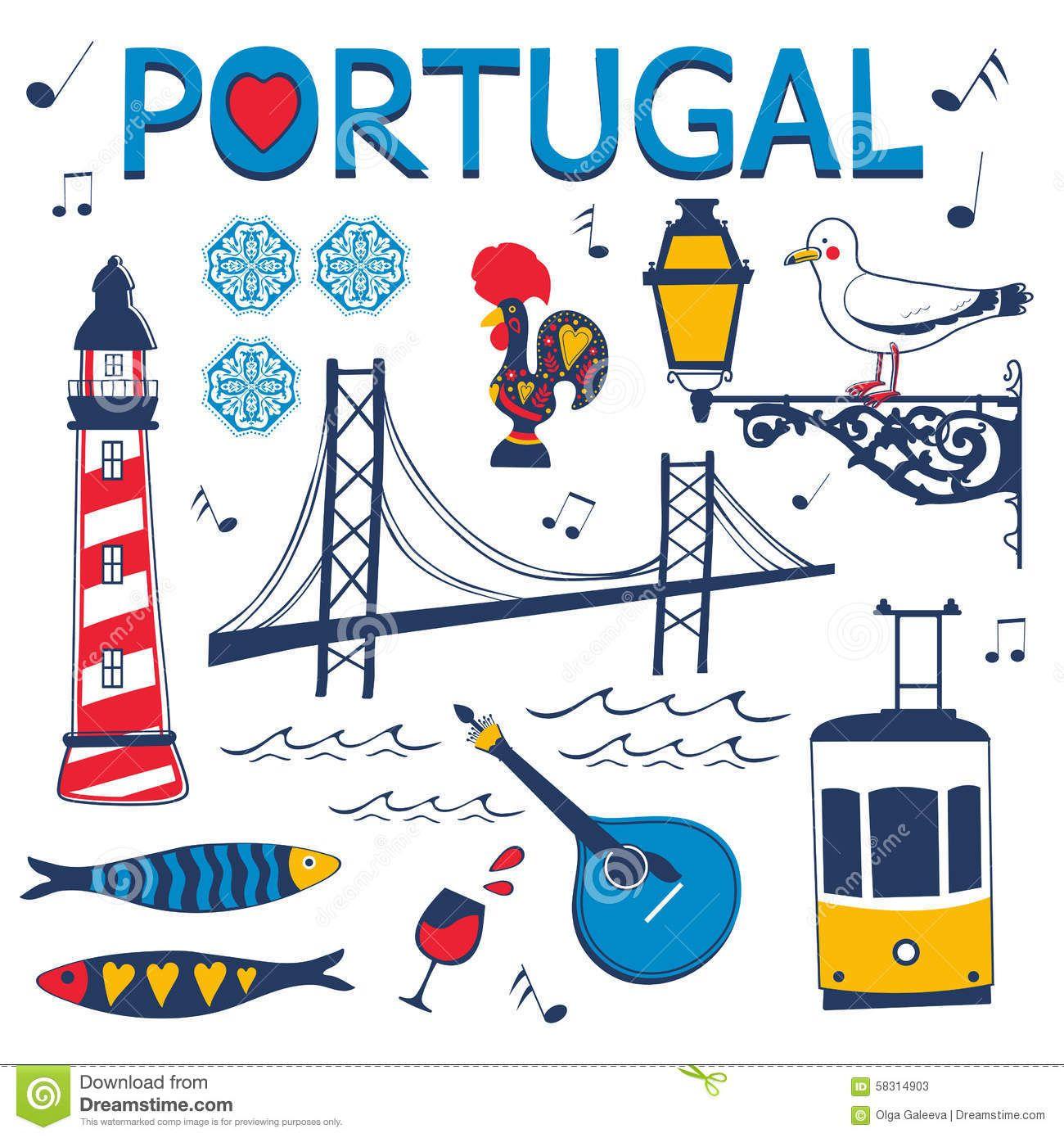 Collection Elegante D Icones Portugaises Typiques Affiches De Voyage Retro Affiches De Voyage Dessin Voyage