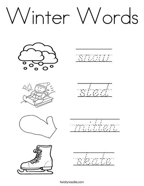 Winter Words Coloring Page  Winter words, Words, Coloring pages