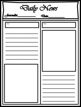 image regarding Printable Newspaper Template referred to as Blank Newspaper Template for Multi Takes advantage of ELA Blank