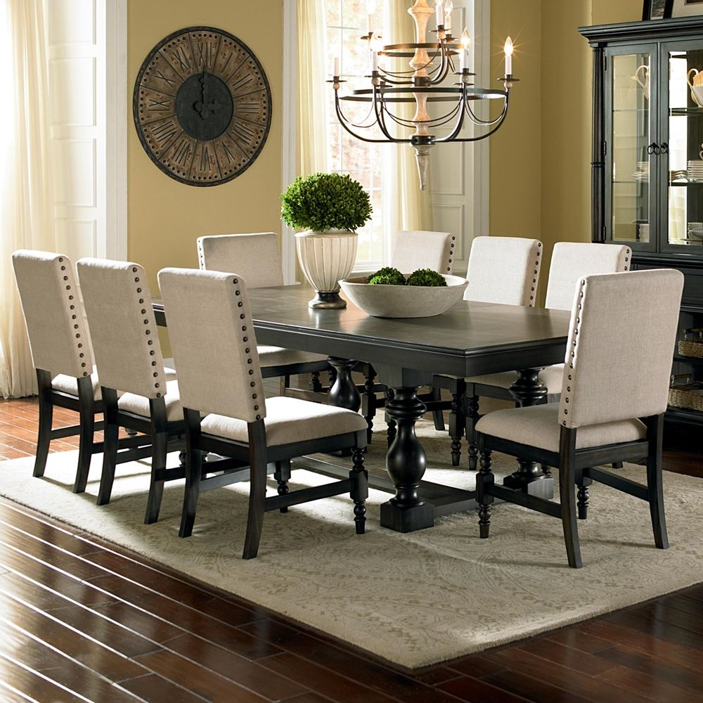 Wensley 9 Piece Extendable Solid Wood Dining Set Dining Chairs Dining Room Sets Upholstered Dining Chairs