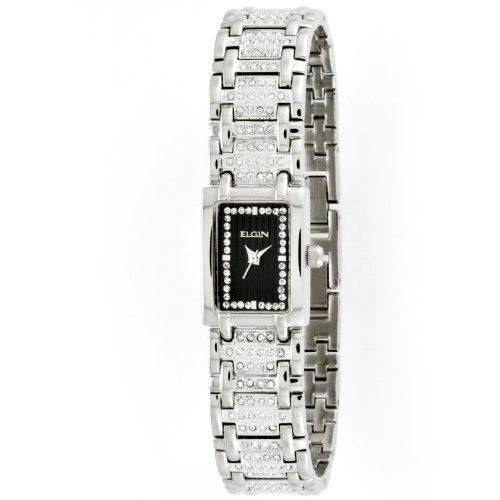 6d343a0e20cef Elgin Women's EG061S Silver-tone Austrian Crystal Accented Watch ...