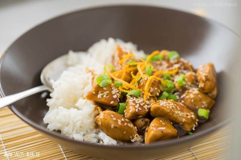 Photo of Asian orange chicken with basmati rice