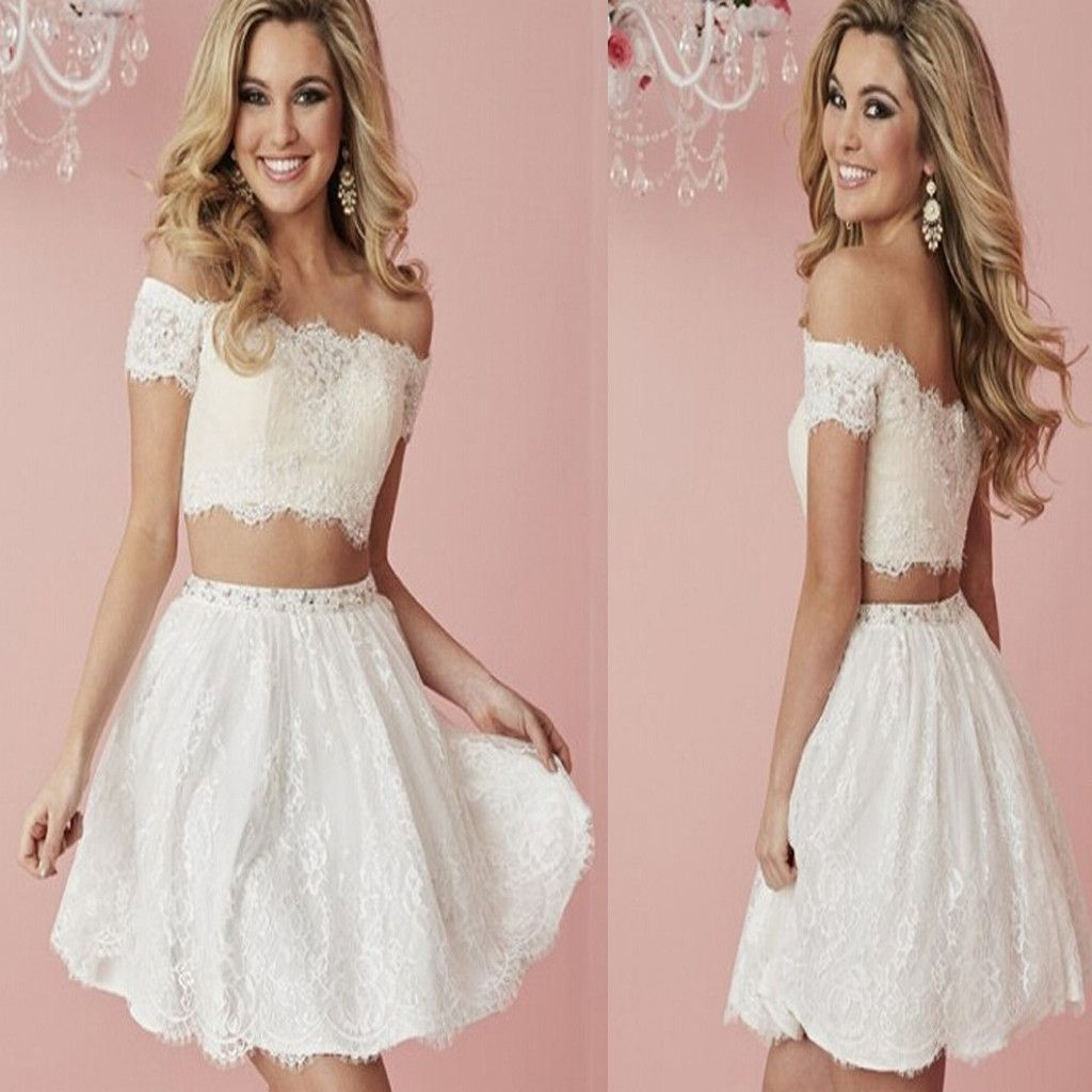 New Arrival white lace two pieces off shoulder simple tight freshman ...