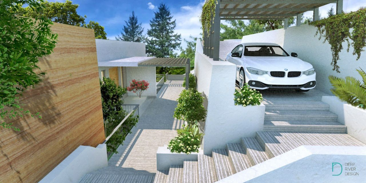 concept rendering for an upcoming modern hillside home project at