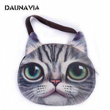 6aae8ad9bca62 DAUNAVIA mignon 3D chat visage féminin sac à main Messenger bag animaux  toile épaule sac visage