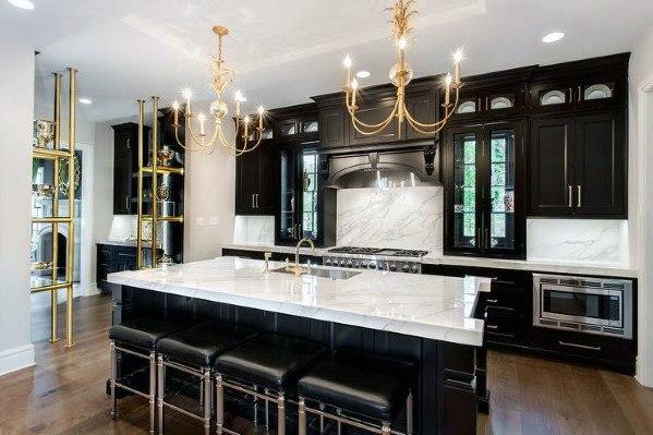 Top 50 Best Black Kitchen Cabinet Ideas Dark Cabinetry Designs Black Kitchens Black Kitchen Cabinets Bold Kitchen