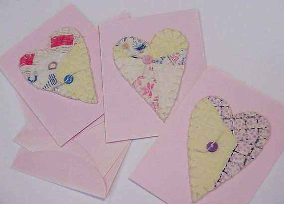 Patchwork Heart Cards Valentine Vintage Feedsack by ITSYOURCOUNTRY