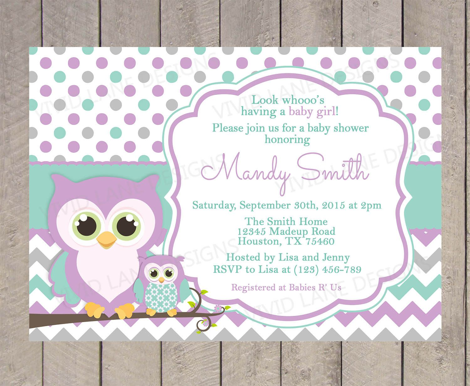 Owls Baby Shower Invitation Purple Teal and by VividLaneDesigns ...