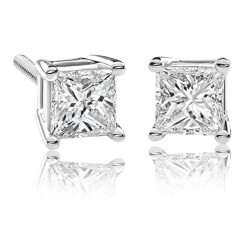 These Stunning Princess Cut Tw Canadian Ice Diamond Earrings Are Set In A Unique 14 Karat White Gold Setting