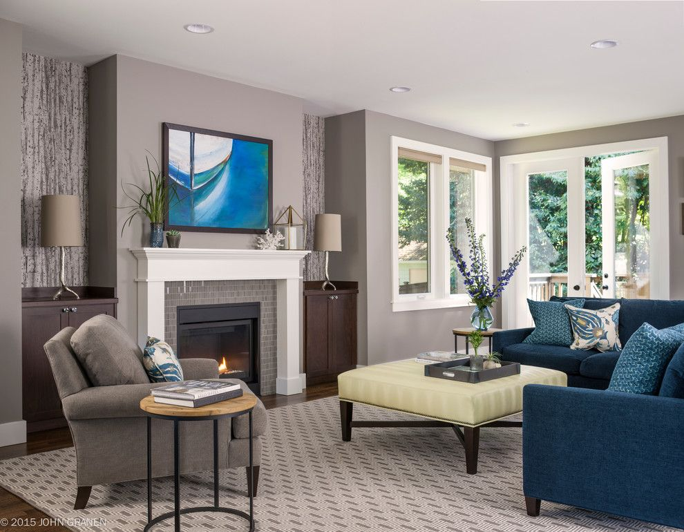 Blue Grey Color Scheme For Transitional Living Room With Sidetable