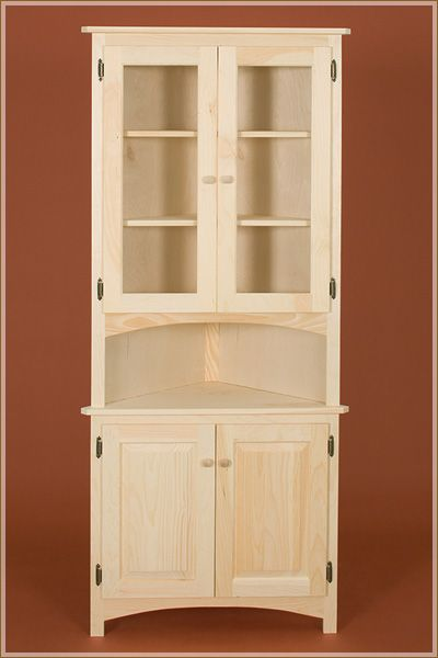 Corner Cabinet With Raised Panel And Glass Doors | Corner Hutch, Glass  Doors And Corner