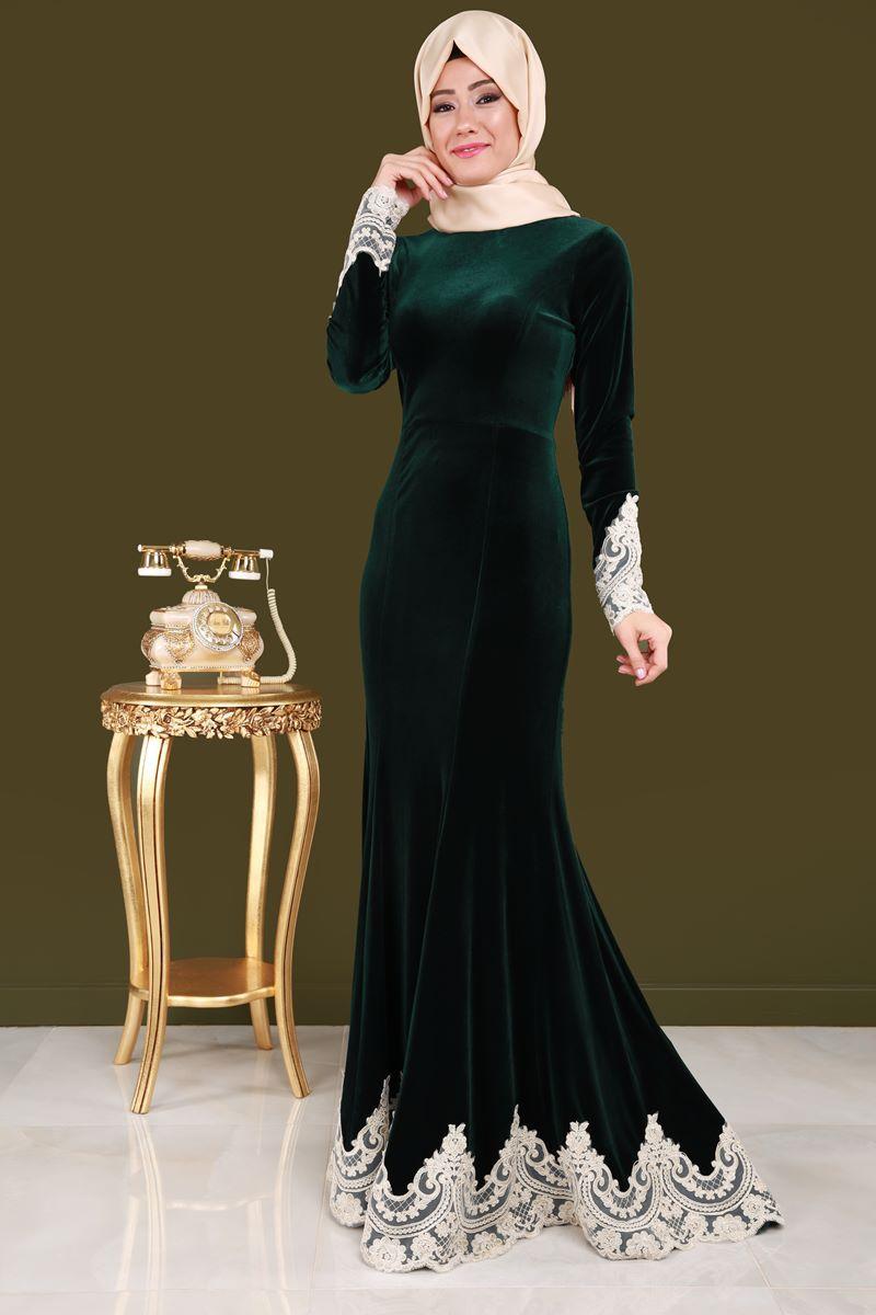 Gupurlu Tesettur Kadife Abiye Zumrut Urun Kodu Ygs6020 149 90 Tl Resmi Elbise Elbise Modelleri The Dress