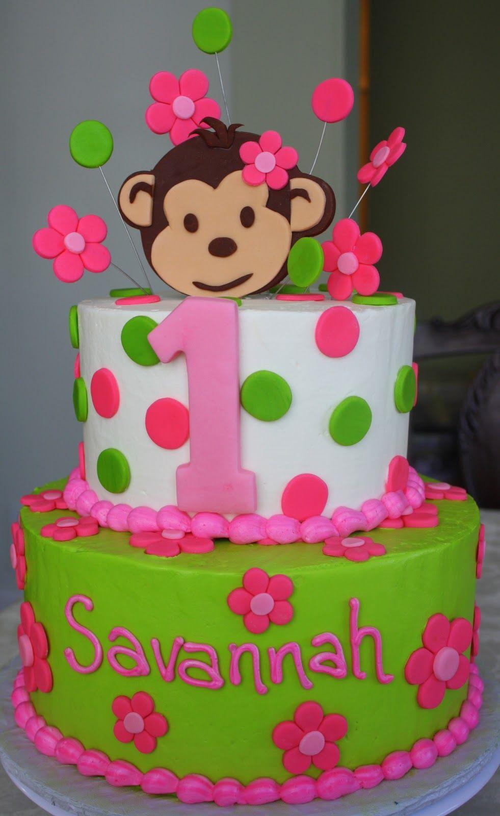 First Birthday Monkey Theme For Girls Cakes Pink Mod Monkey St - 1st girl birthday cake