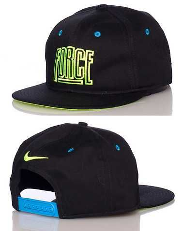 ef3767170cf  NIKE  Logo snapback cap  Embroidered FORCE lettering on front  Adjustable  strap on back  NIKE swoosh detail  Neon yellow blue accents