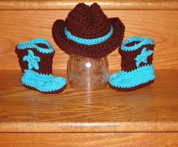 da806c6cc85 Newborn - 3 Month Baby Cowboy Hat   Star Boot Set Crochet Handmade Photo  Prop Great Gift