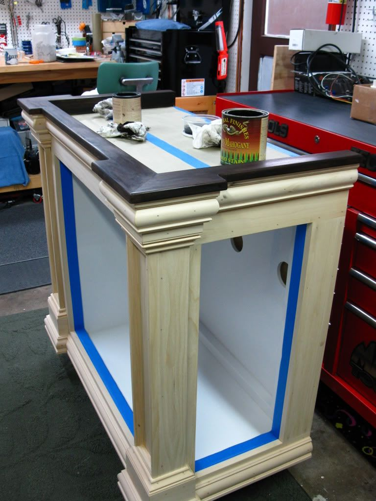 Diy fishtank stand build love the trim misc cool for Fish tank table stand