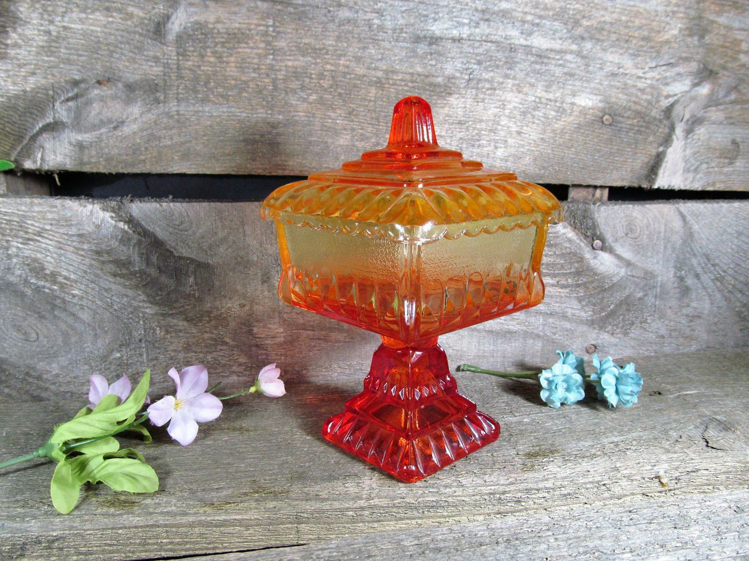 Carnival Glass, Square Pedestal Candy Dish, Or Compote With Lid, Vintage  Collectible,