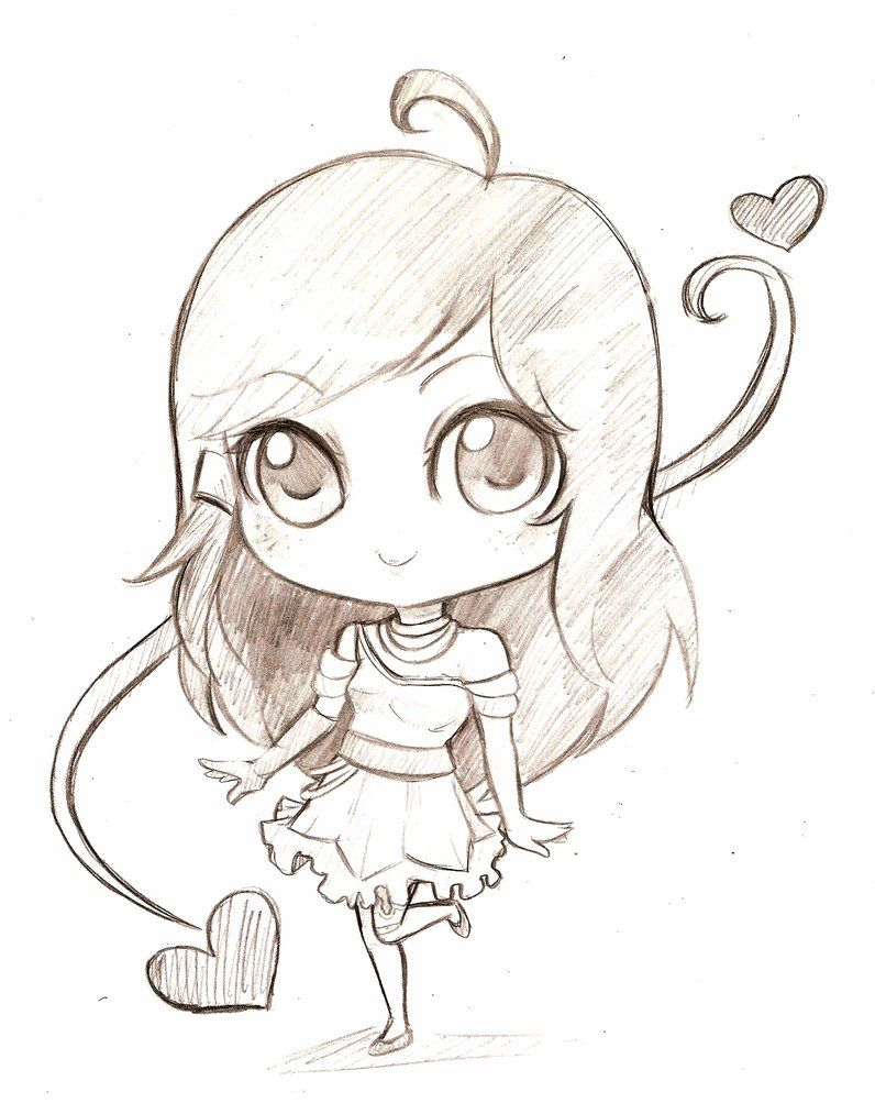 Anime Chibis Girl Base Pencil Sketch
