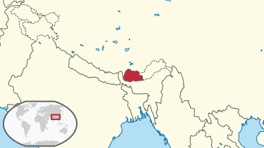 A map of east central Asia highlighting Bhutan