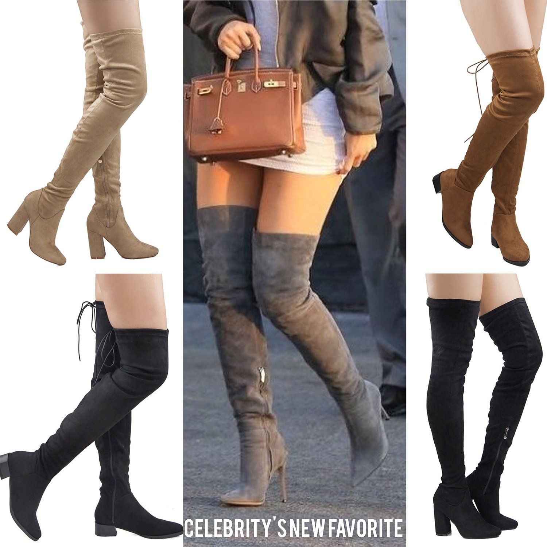 90404deee34b8 Amazon.com   ROF Women's Thigh High Over The Knee Block Chunky Heel ...