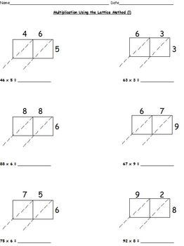 Multiplication Worksheets Lattice Partial Products Standard Form Common Core Partial Products Multiplication Worksheets Multiplication