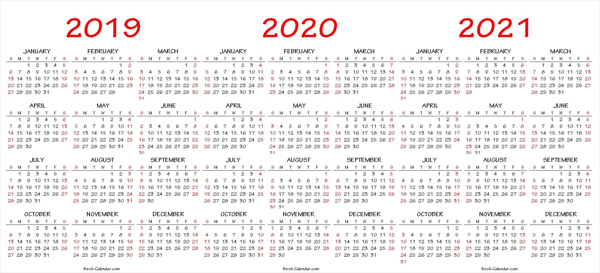 2019 2020 2021 Calendar Pdf Template Calendar Printables Calendar 2019 And 2020 Yearly Calendar