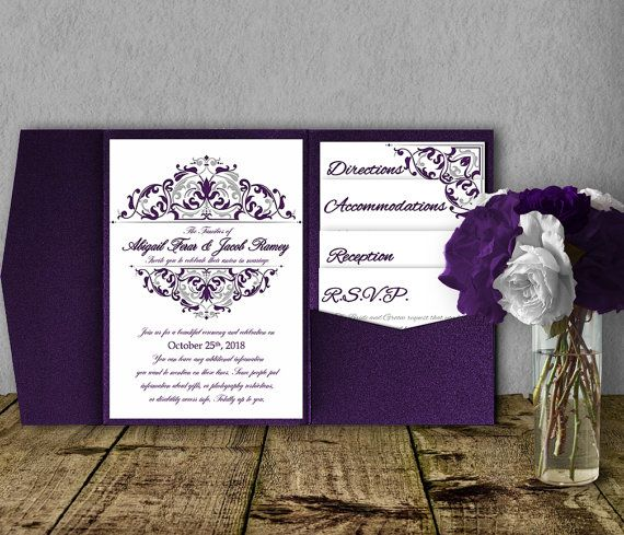 Silver purple wedding invitation template kit invitation suite gorgeous pocketfold wedding invitations that you edit and print yourself these templates are super inexpensive and a great way to get information to your solutioingenieria Image collections