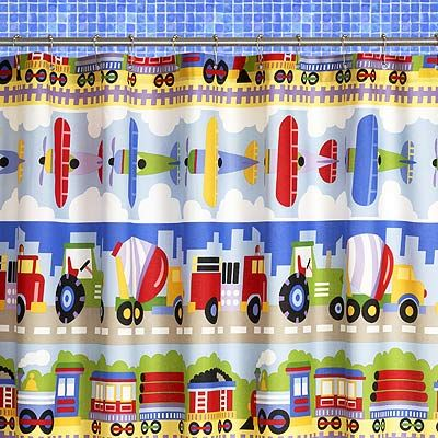 Kids Bathroom Shower Curtain Trains Planes And Trucks At