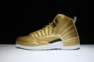 bbd32274088c5f Mens Nike Air Jordan 12 Retro Pinnacle Gold 130690 103 Boy Basketball Shoes