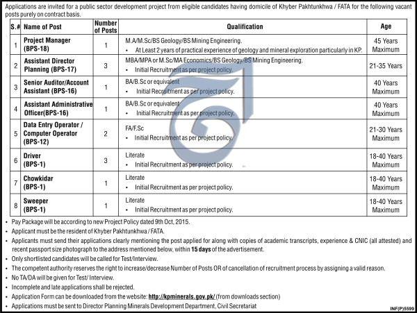 Public Sector Development Jobs 2017 In Khyber Pakhtunkhwa For